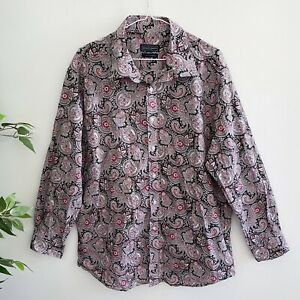 David Smith Men's Size 3XL Long Sleeved Button Front Shirt Paisley Pattern