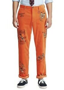 New Mens Polo Ralph Lauren Vintage Rugby Classic Fit Orange Cord Pants 30x32
