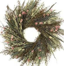 "22"" Real Dried Flowers Handmade Fox Hollow Meadow Fields Blooms Lavender Wreath"