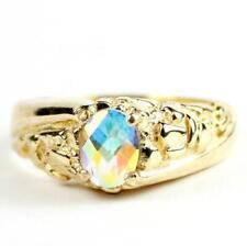 10K, 14K or 18K Gold Men's Nugget Ring, Mercury Mist Topaz, R368