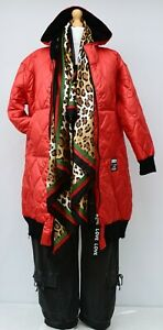 """PLUS SIZE RED QUILTED HOODED ZIPPED LONG COAT/JACKET BUST UP TO 50"""" L-XL"""