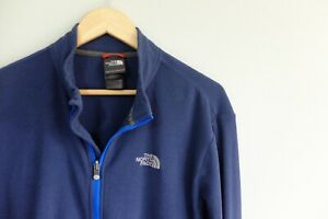 The North Face full zip thin Fleece jacket L Blue Polytec mid layer