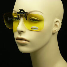 CLIP ON FLIP UP SUNGLASSES NIGHT DRIVE YELLOW SHOOT VISION GLASSES SQUARE HD