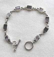 A Silver Bracelet Set 3 Amethysts 3 Iolites 3 Unknown , Stamped 925