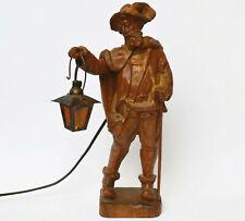 Holz Skulptur Figur geschnitzt Nachtwächter Lampe mit Licht brennt Höhe 38 cm