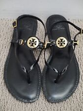NEW TORY BURCH Ali black patent leather gold logo detail flat sandals size 9