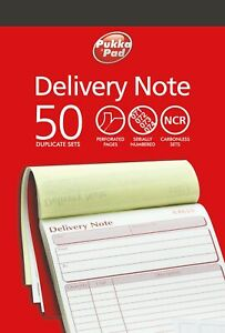 Duplicate Delivery Note Book NCR Carbonless Record Numbered Pad 50 Sets PUKKA