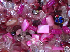 100g 'Pink-Berry-Ice' Glass Bead Mix #1840 Combine Postage-See Listing