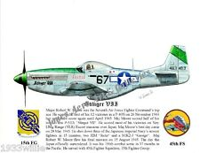 "15FG Maj. Robert W. Moore's P-51 ""Stinger VII"" Giclee art prints by Willie Jones"