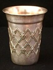 Sterling Silver 925 Kiddush Wine Cup With Diamond Design