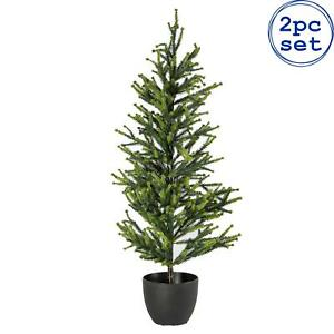 Set of 2 Artificial Realistic Potted Christmas Trees Decoration 80cm Green