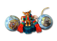 Rudolph Red Nosed Reindeer Light Up Misfit Toys & Metal Ball Christmas Ornaments