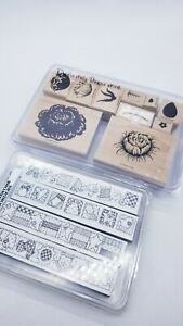 Vintage Stampin Up 1997 Roses. Flowers. Patchwork Borders