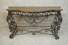 French Blacksmith Forged Iron Timber Top Console Foyer Entryway Table Buffet