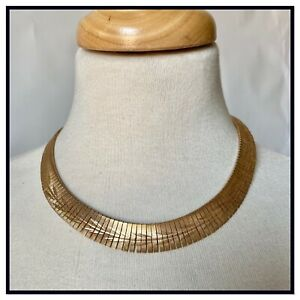 Vintage 1970s Modernist Gold Tone Necklace / Choker Costume Jewellery Disco Glam