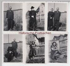 (F7598+) 6x Orig. Foto Familie Schnapper im Garten des Wohnhauses 1944