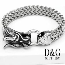 "NEW DG Gift Inc Mens 8.5"" Silver Stainless Steel DRAGON HEAD Franco Bracelet+Box"