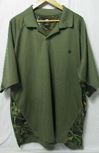 Mossy Oak Mans Pullover Shirt. Green/Camo Size 2X