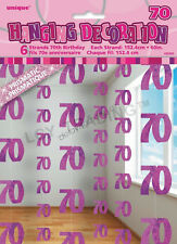 70th Birthday Party 6 Glitz Pink Hanging String Door Curtain Decorations 1.5m 70