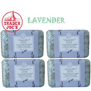 (4)  Bars Trader Joe's Bisous de Provence Lavender Triple Milled Soap Bars Soap