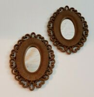 Vintage Homco Mirrors Faux Wicker Rattan Style Scroll Boho 1978 Set of 2