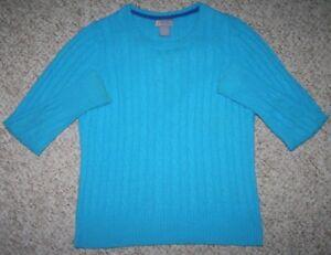 Blue Sweater Large Crewneck JC Penny Long Sleeve Woman's Nylon Rayon Wool Top