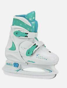 Lake Placid Adjustable Size 11-1 Youth Ice Skates Teal Blue & White NEW!