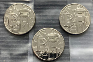 2019 3 x P for Postbox 10p coins Royal Mint UNC A-Z Alphabet Coins