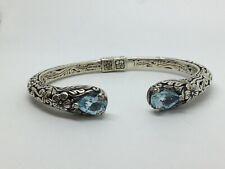 Designer ATI Sterling Silver Blue Topaz Floral Scroll Cable Hinged Cuff Bracelet