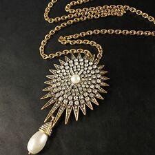 COLLANA Ciondolo D'oro Bianco Perla Cristallo Sole Tondo Goccia Vintage OSC3