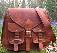 Women Vintage Looking Brown Leather Messenger Cross Body Bag New Handmade Purse