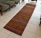 Striped Kilim Runner 2.6 x 9.5 ft  Handmade Oushak Hallway Wool Rug Runner C27