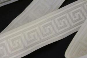 cream off white classic greek key woven ribbon trim 35mm wide 2m 2 metres