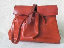 Henry Cuir Beguelin Vintage Brown Leather Satchel Tote Hand Bag Purse Used
