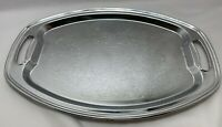 Embossed Silver Plated Rectangle Serving Traywith Handles Vintage Made in USA