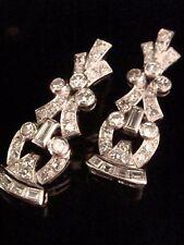 Art deco Platino Diamante Pendientes 2.00 CT