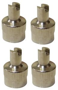 Pack of 4 Silver Metallic Valve Tool Dust Caps
