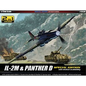 Academy Model Kit - Il-2m Plane & Panther D Tank - 1:72 Scale - 12538 - New