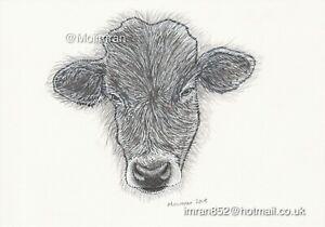 Cow Head Graphite Drawing - Farm Animal Pencil Sketch Limited Edition Artwork