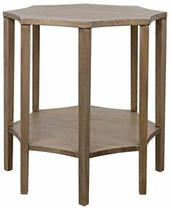 """30"""" Dia. Set of 2 Hex Side Table Solid Walnut Natural Finish 5937"""