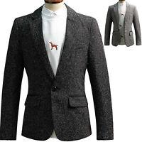 Mens Luxury Dandy Slim Fit Tweed Blazer Jacket Jumper Outwear Top W060 XS/S/M