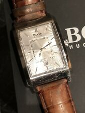 HUGO BOSS MENS DRESS WATCH PURE STYLE. WORKS PERFECT. DATE, SILVER FACE. BOSS
