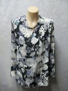 size 16 MELA PURDIE Black Grey White Long sleeve Floral print TOP womens ladies
