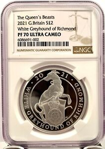 2021 Great Britain £2 Queens Beast Greyhound 1 oz Silver Proof Coin - NGC PF 70