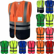 Hi Vis Safety Vest Tops High Visibility Security Waistcoat Work Jacket Waistcoat