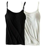 Womens Modal Built-in Bra Padded Camisole Yoga Tanks Tops, Black, Size 10.0 wV0V
