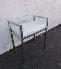 Vintage Mid Century Small Chrome and White Vinyl Vanity Stool Bench 8346