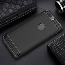 Carbon Fibre Black Flexi Gel Tough Case Cover & Screen Protector For OnePlus 5