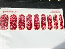 Jamberry Nail Wrap Half Sheet - Retired - Burgundy Floral On Classic - 2013 GGG