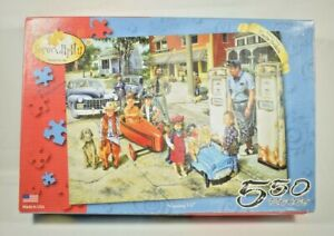 """Serendipity - """"Gassing up"""" Susan Brabeau 550 Piece Jigsaw Puzzle - 100% Complete"""